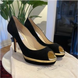 Jimmy Choo Black Suede/Gold Peep Toe Heels